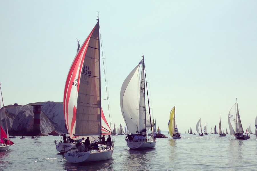 Approaching the Needles on the Round the Island race