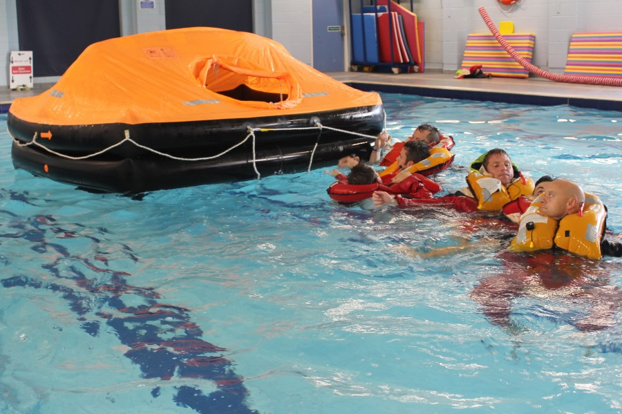 Working together on a Sea Survival course