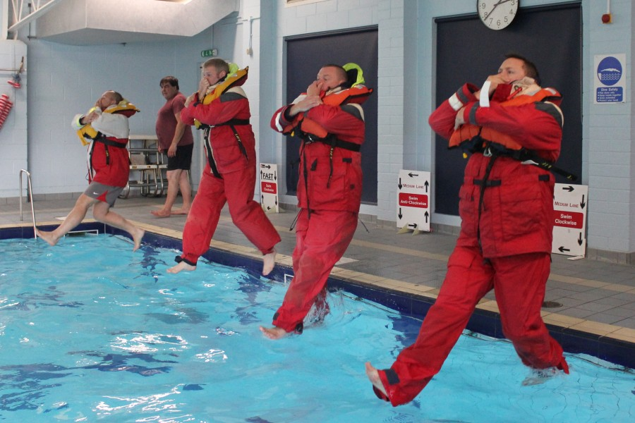 Sea Survival Training - Entering the water